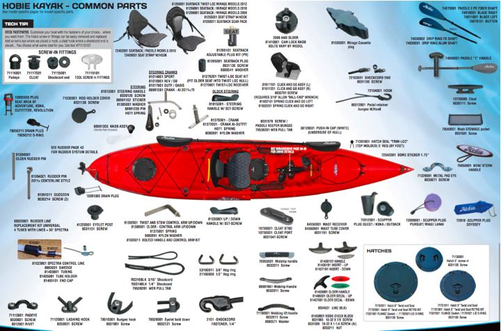 Hobie Kayak -Common Parts
