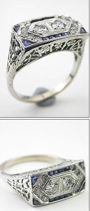 vintage art deco diamond & sapphire ring