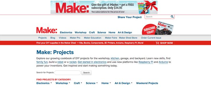 MAKE Projects serves a growing community of makers who bring a DIY mindset to technology. Whether as hobbyists or professionals, makers are creative, resourceful and curious, developing projects that demonstrate how they can interact with the world around them.
