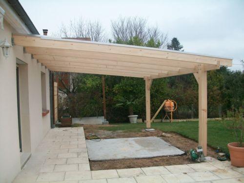 Pergola bois murale 6.00 x 4.00 mètres sapin & toiture polycarbonate