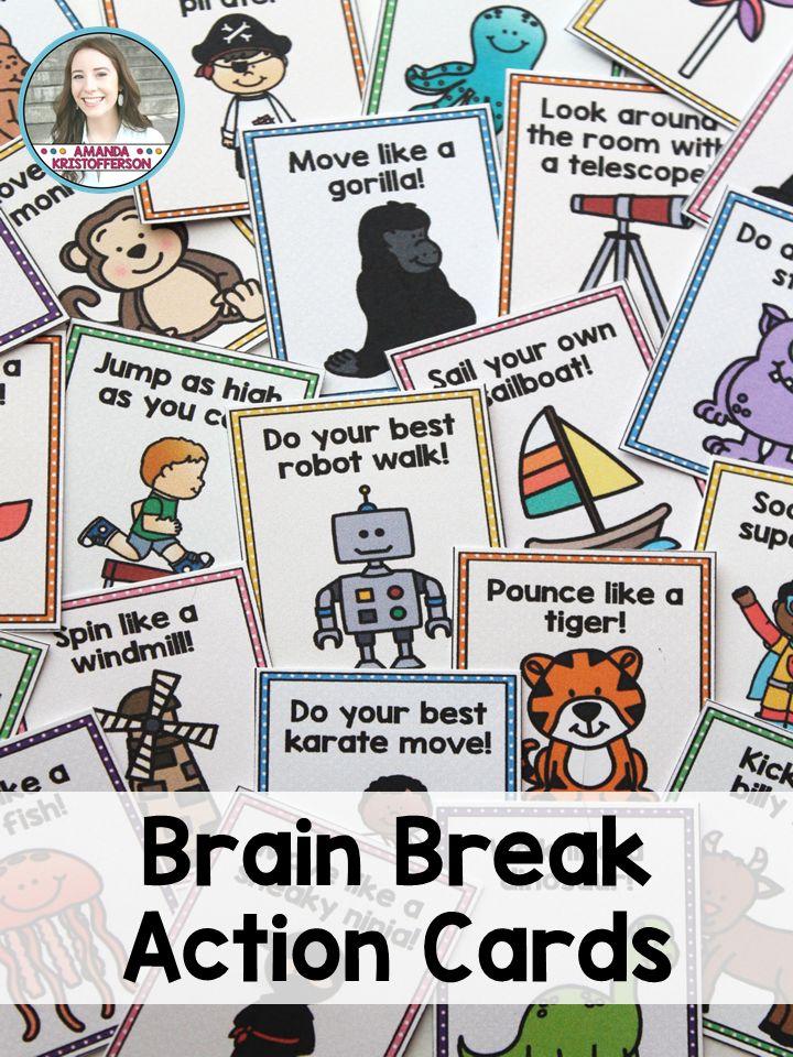 Classroom Ideas Year 6 ~ Brain breaks activity cards classroom and