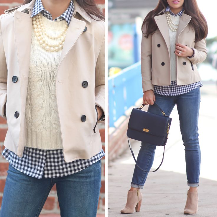 Cropped trench coat, gingham shirt, cropped cable sweater,three strand pearls. Denim cropped jeans, suede ankle booties, and navy purse.   - StylishPetite.com
