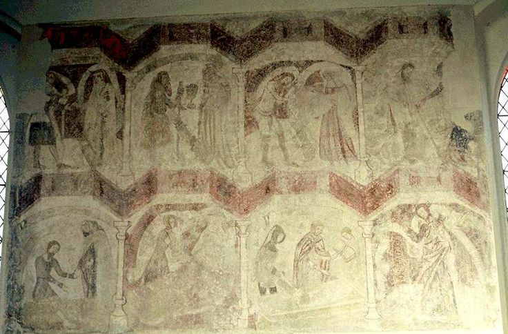The Seven Works of Mercy, Wickhampton, Norfolk, Norwich C.14. 7 works and Christ blessing the workers in bottom right.
