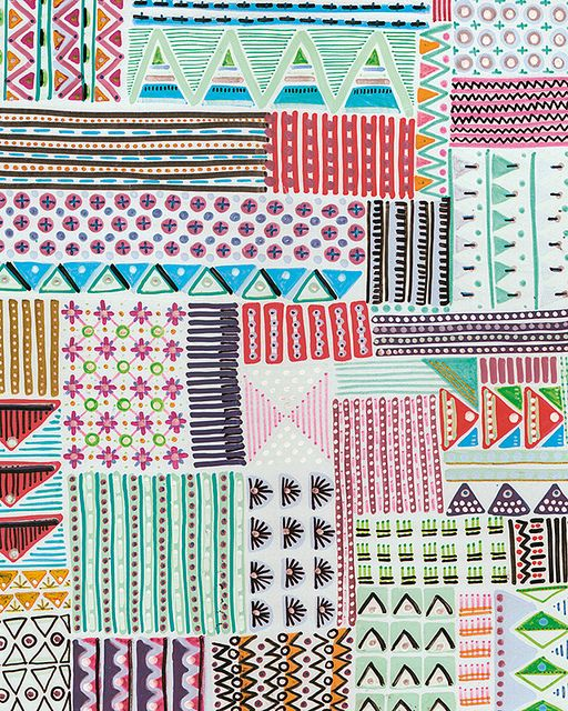 folk geometric patchwork. Beautiful pattern, would love to replicate in ink or watercolour or collage