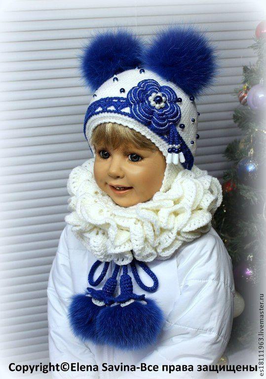 """Купить Комплект """" Снегурочка №4""""-синяя+мех синий - белый, орнамент, шапочка для девочки"""