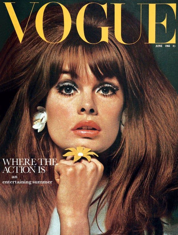 English fashion model Jean Shrimpton on the cover of the June issue of British Vogue magazine, United Kingdom, 1965, photograph by David Bailey.