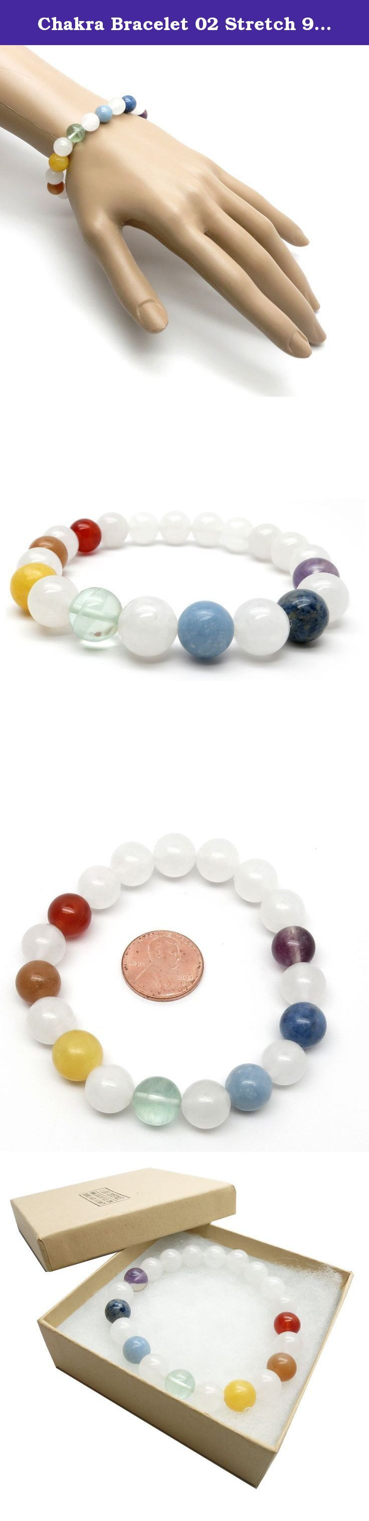 Chakra Bracelet 02 Stretch 9-10mm Round Quartz Angelite Stone Crystal (Gift Box) (7.5 Inches). Chakra Stretch Bracelet Natural Snow Quartz and Chakra healing crystals are strung on your new stretch bracelet. The natural stones are polished into 9mm to 10mm round beads. The Snow Quartz is a translucent white crystal strung on sturdy bracelet stretch cord with the following chakra stones: Crown Chakra: Translucent Purple Fluorite Third Eye Chakra: Blue & White Sodalite Throat Chakra…