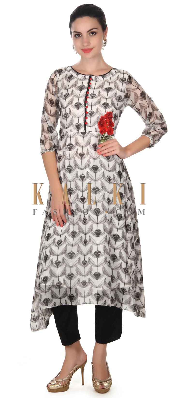 Buy this White printed suit in floral print and kundan only on Kalki