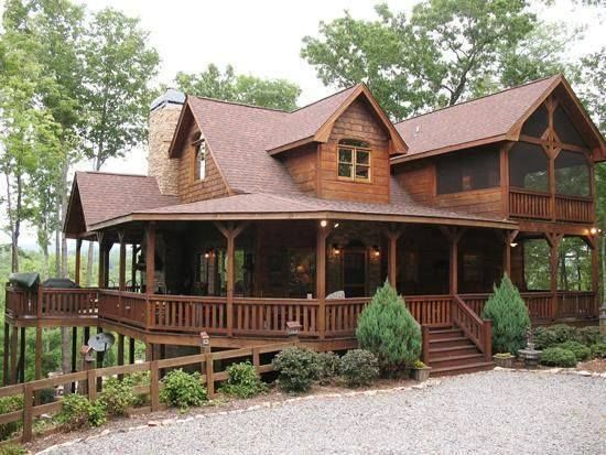 My DREAM HOUSE!  Huge wraparound porch + screened porch + mountain views + it's a log home = PERFECTION!