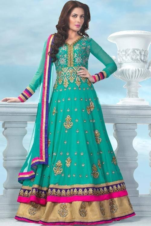 Lead your style in this Fashionable World!!  http://ethnicstation.com/shop/women/salwaar-kameez/anarkali/sea-green-coloured-resham-zari-with-patch-border-saree.html