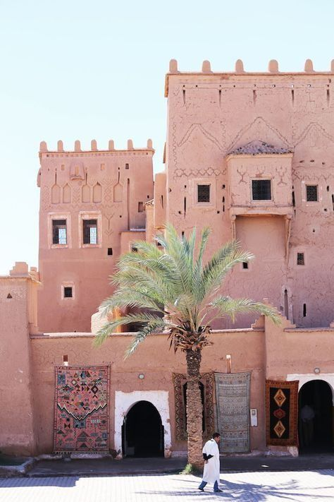Beautiful dusty pinks and ancient architecture of Marrakech, Morocco.