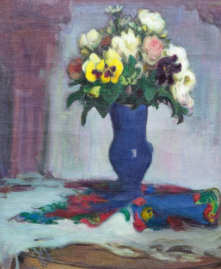 Władysław Ślewiński: Kwiaty w niebieskim wazonie, lata 1906–1918 olej, płótno, 55 × 46 cm