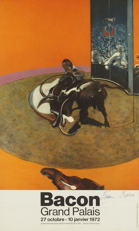 Francis Bacon Retrospective Exhibition Poster | Francis Bacon (1909-1992) | Grand Palais, Paris, October 1971 | Poster depicts Study for Bullfight No.1 (1969) | Signed 'Francis Bacon' in felt-tip pen