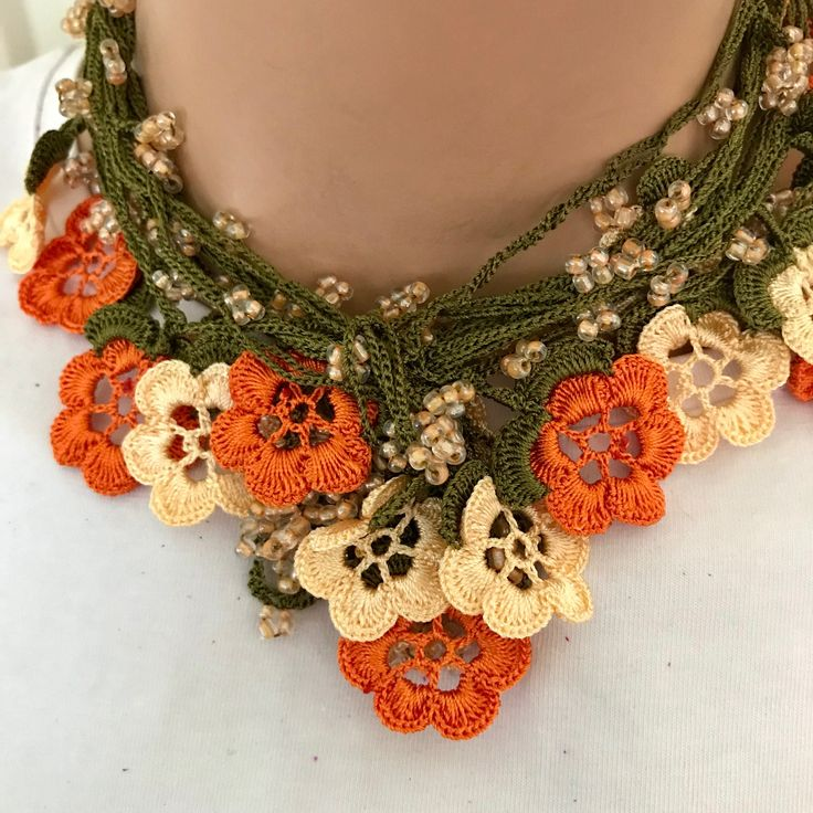 women beige orange necklace, orange flower, crochet, extra large lariat, girl accessory, christmas gift, valentines day gift, by BendisGalata on Etsy