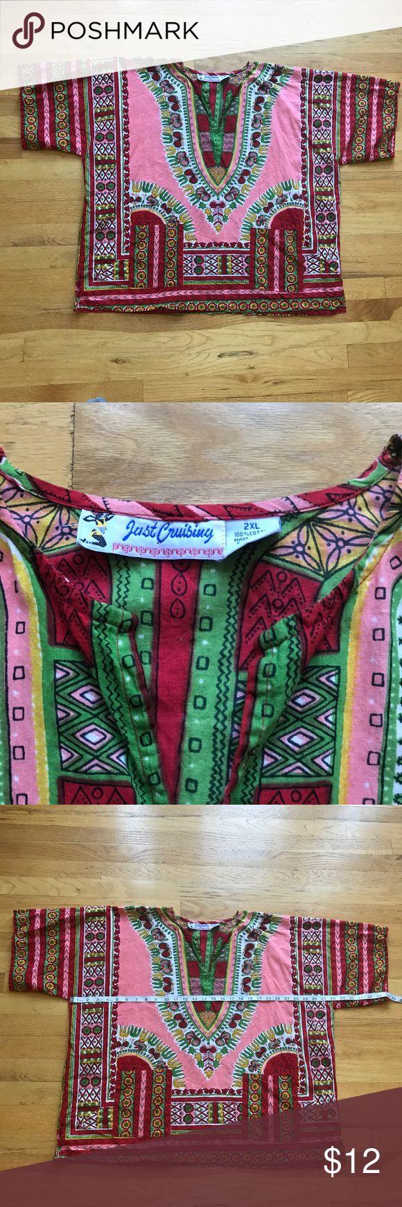 Dashiki Shirt Dashiki Shirt. Just Cruising is the brand. Size 2XL. 100% cotton. 2 Pockets on front. Just Cruising Shirts