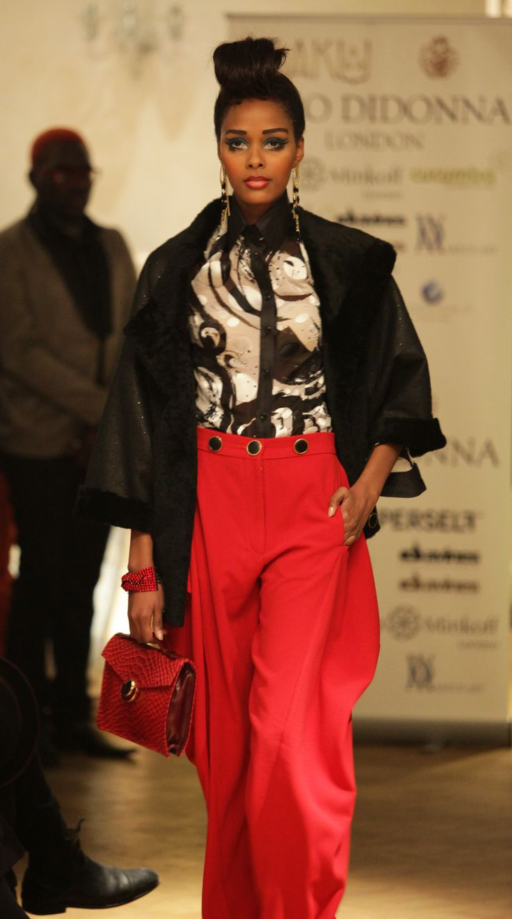 Red, black and white with red snakeskin clutch, AW2013 catwalk