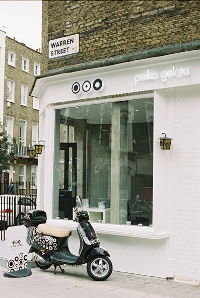 Polka Gelato (London) has a great store design and fun logo that works well with the brand's personality