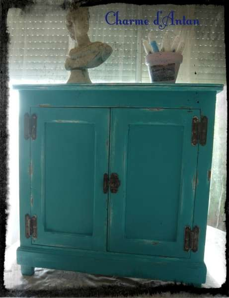 petit meuble bleu charme d 39 antan dko pinterest turquoise. Black Bedroom Furniture Sets. Home Design Ideas