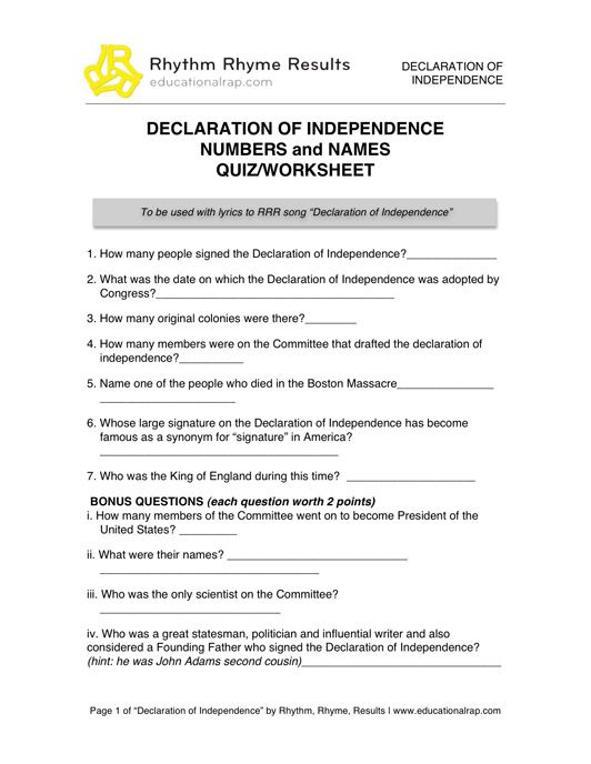 Declaration of Independence - Song with Free Worksheets and Activities