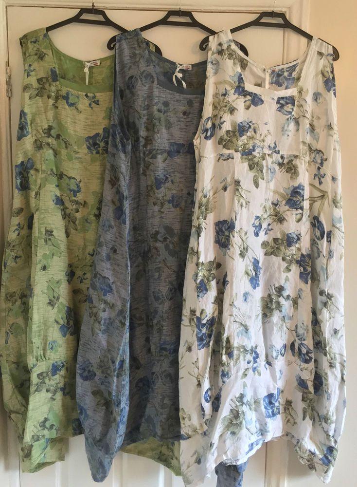 "New LAGENLOOK Plus Size BALLOON Shaped BOHO Tulip FLORAL LINEN Dress XXL 50"" #SuperBelle #BohoHippieAsymmetricLongDress #Casual"