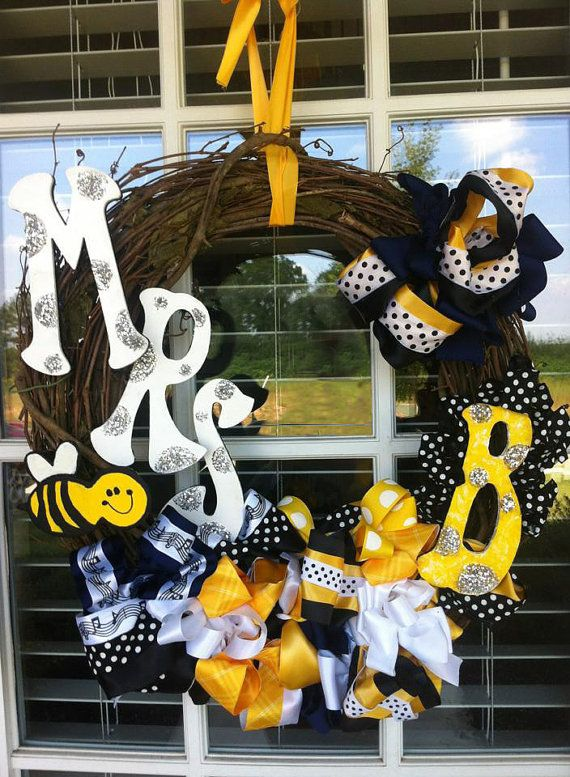 Bumble Bee Personalized Wreath Names Monogrammed Teacher Gift Idea Home Office Classroom