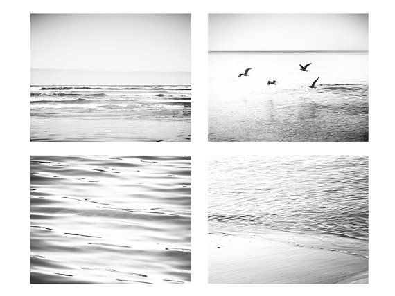 Nautical decor black and white beach photography ocean 8x10 11x14 fine art photography birds coastal prints water ripples seagull waves