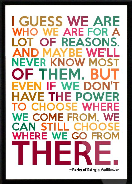 From Perks of Being a Wallflower. Love this quote and love the movie