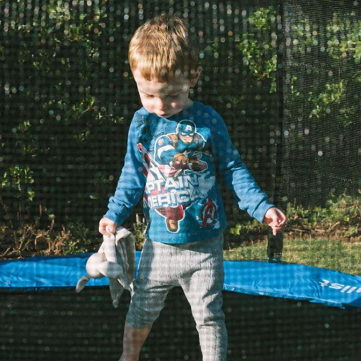 Our toddler turns two today! Here we are inspecting his new trampoline. Happy Birthday Ben