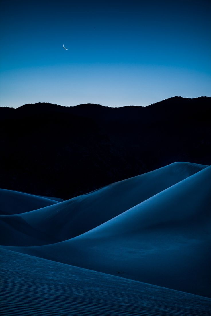 Crescent Moon Over the Dunes, Great Sand Dunes National Park, Colorado