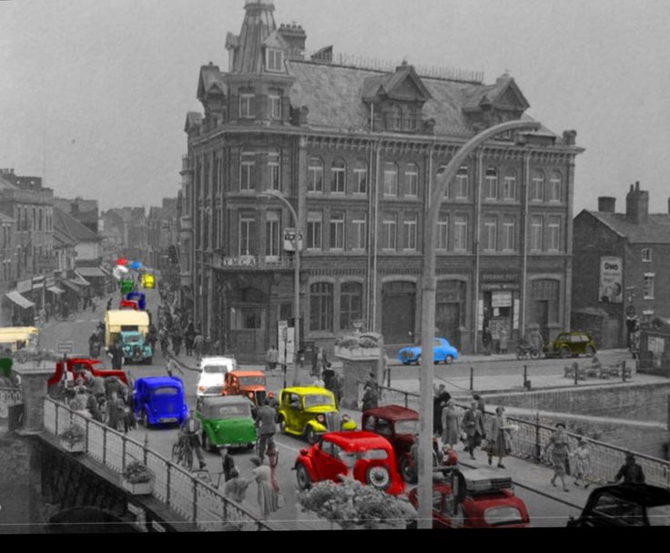 """Bridgwater mid 50's """"Town Bridge over the river Parrot into Eastover."""