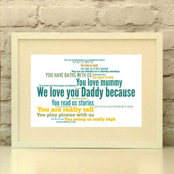 Daddy Personalised Print Love you because In your