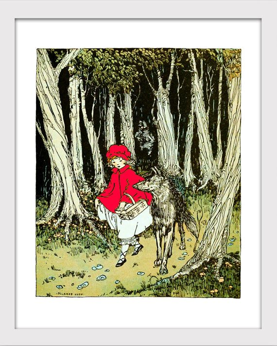 Nursery Decor, Journey's Through Bookland, Little Red Riding Hood, Victorian Baby Room, Kids Room Decor, Nursery Wall Art, Storybook Print