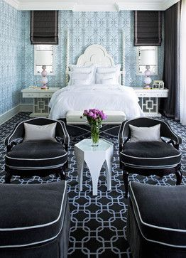 Modern Hollywood Regency Bedroom By Jamie Herzlinger   Dramatically  Patterned Part 12