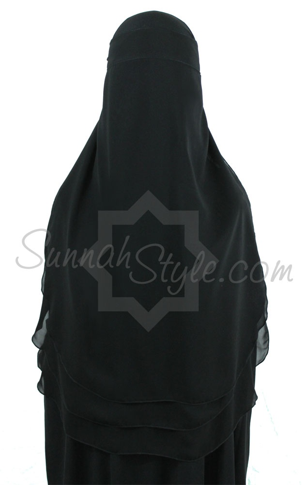 Three Layer Boushiya (Black) from Sunnah Style - www.sunnahstyle.com