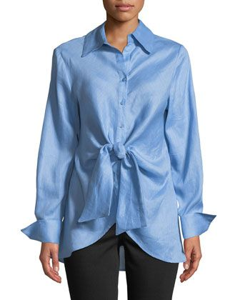 745fb4cc5597 Tie-Front+Button-Front+Blouse+by+Neiman+Marcus+at+Neiman+Marcus+Last+Call.