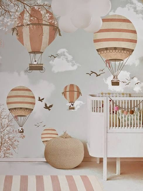 little hands: Little Hands Wallpaper Mural - Balloon Ride II: