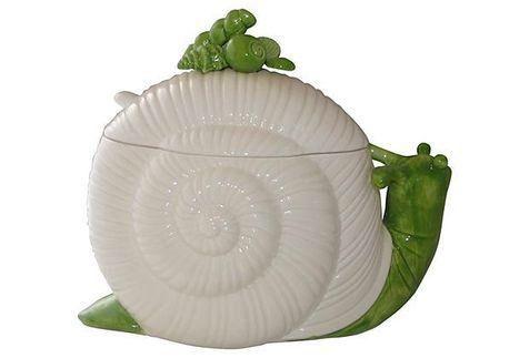 Fitz & Floyd Palm Beach-Style Snail Centerpiece on Chairish.com