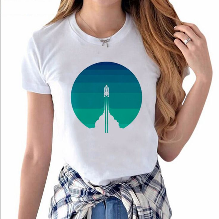 New Fashion Into The Out Space Rocket Launch Printed T-shirt Hillbilly Casual Street Style Women's Clothing Modal O-Neck T shirt #women's street style