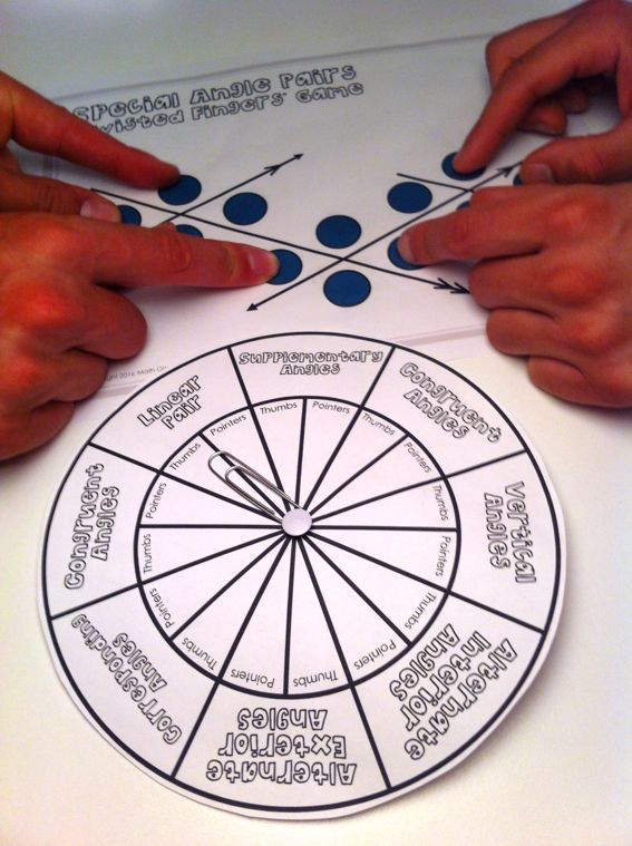 """""""Twisted Fingers"""" Game for Special Angle Pairs  (like a tabletop version of Twister!) - Angles along a Transversal w. Parallel Lines -- Alternate Interior, Alternate Exterior, Congruent, Corresponding Angles, Vertical Angles, etc."""