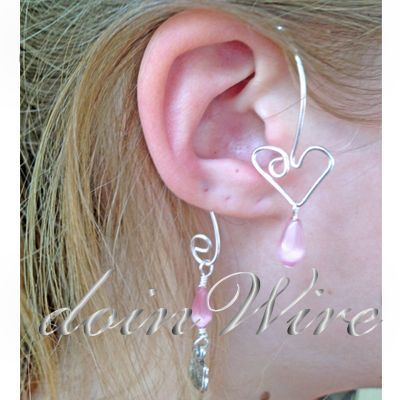 doinWire-DOW319 Ear Wrap, silver tone craft wire, top heart shape with pink cat-eye teardrop bead and bottom scroll with pink cat-eye teardrop bead and silver tone miss kitty charm. No Piercing Required!!