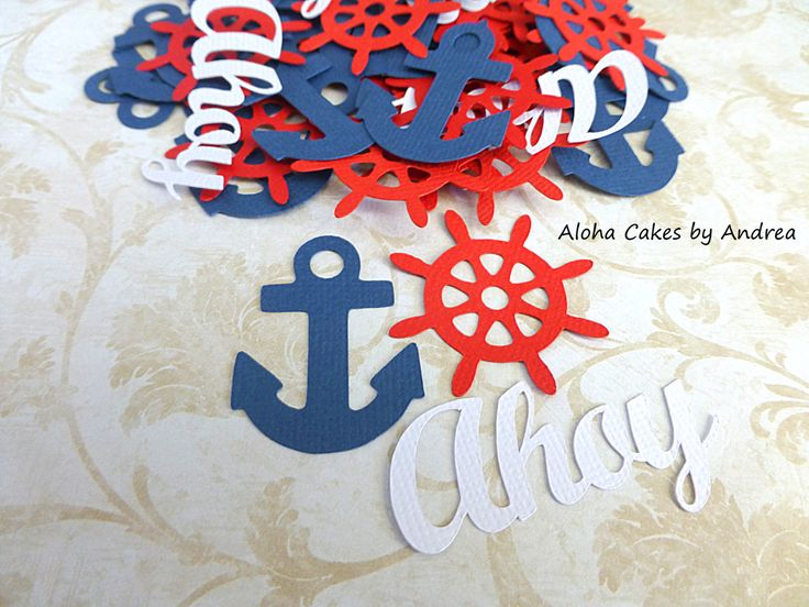 Anchor Confetti, Ahoy Its A Boy, Anchor Ships Captains Wheel, Navy Blue White Red Decor, Boy Baby Shower Nautical Themes, Set of 100