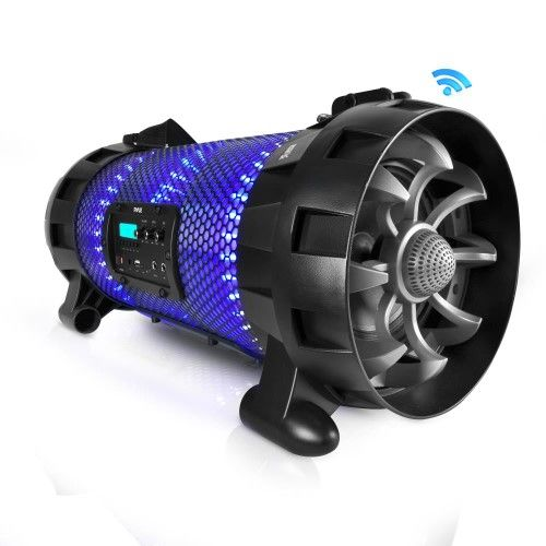 Pyle - Bluetooth + NFC BoomBox Stereo Speaker System with Multi-Color App Controlled LED Party Lights, Built-in Rechargeable Battery