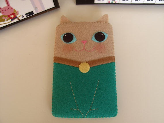 Kitty Handmade Cell Phone/iPhone Case-Beige with Emerald Green (Custom Size Available) by FeltLLang $18.99