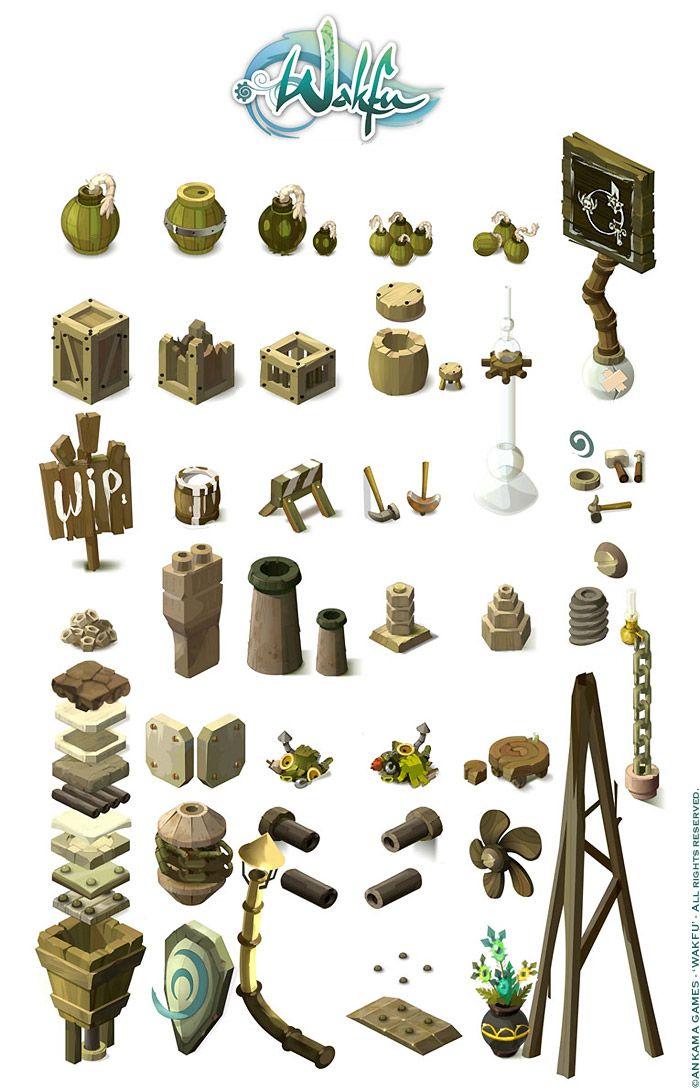 Wakfu MMORPG. Background isometric pictos