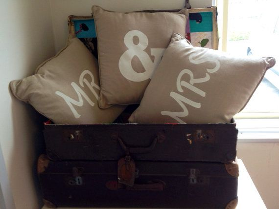 Mr loves Mrs hand stenciled & screen printed beige cushion with insert on Etsy, $25.00 AUD