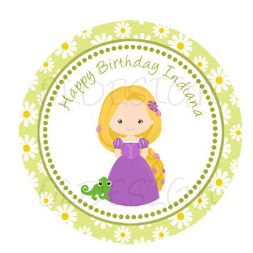 Rapunzel Tangled inspired Stickers, Cupcake Topper, Tags, great for birthday partys. Digital file