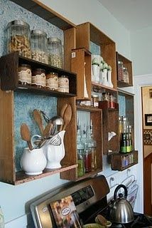 repurposed drawer kitchen shelves