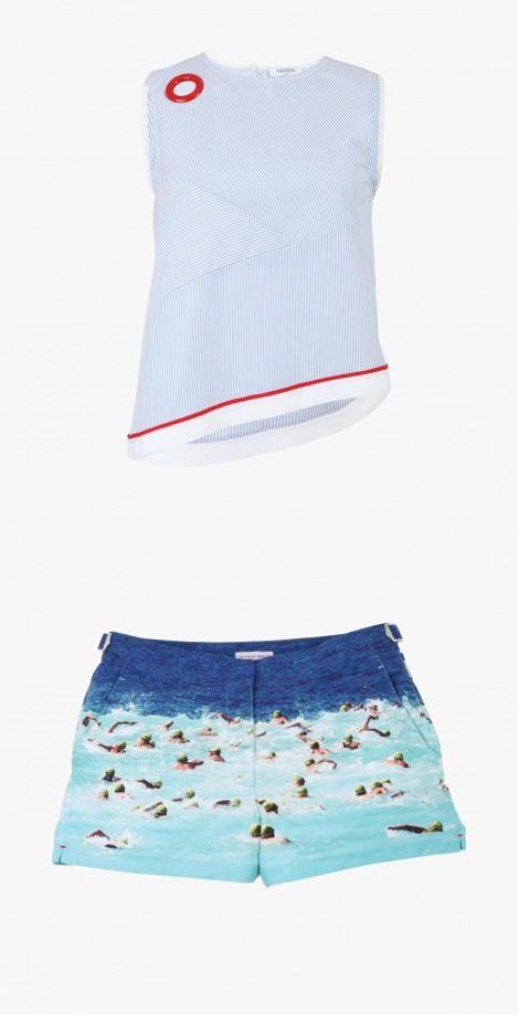 Top sans manches Crazy Helina - GAUCHERE, Short de bain imprimé nageurs - ORLEBAR BROWN #LeBonMarché #women #femmes #trend #silencelesmouettes #pe2016 #ss2016
