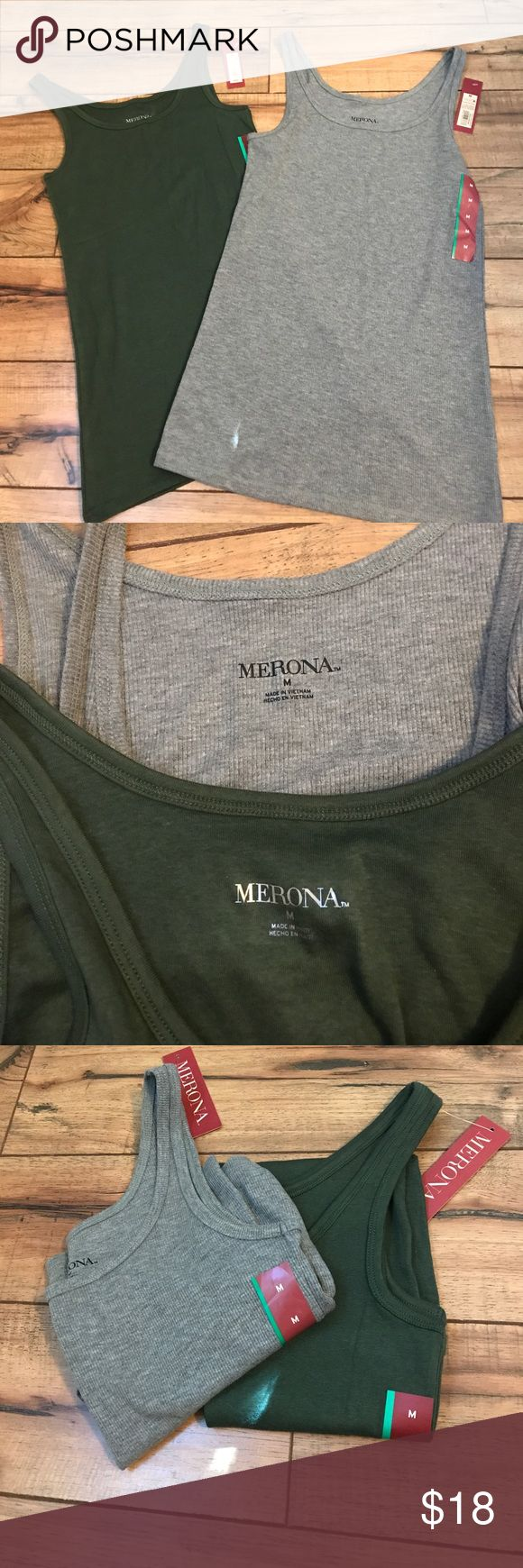 """2 pack! Merona layering tanks! So soft and perfect for layering this Fall- two tanks from Merona! One is grey (ribbed); the other is army green (not ribbed). Both are super soft with lots of stretch!  New with tags, size Medium  Measurements: (taken flat, not stretched) Pit to pit: 14"""" Shoulder to bottom hem: 26""""  All items come from a smoke free and kitty cat friendly home. Merona Tops Tank Tops"""