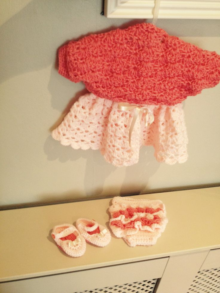 Crochet baby dress with shrug frilly pants and shoes